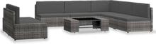 vidaXL loungesæt til haven 7 dele polyrattan grå
