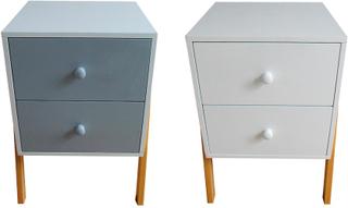 Charles Bentley eleganta barnens två låda sängbord - finns i vit & grå