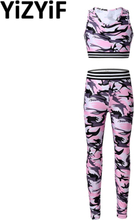 Kids Grils Camouflage Printed Tracksuit Outfit Sleeveless Sport Bra Tops Dance Crop Top Tank With Leggings Pants Sportswear Set