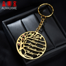 Auxauxme Custom Birthstone Tree of Life Keychains Stainless Steel Family Member Tree Keyring Birthday Gifts for mom Dad