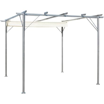 vidaXL Pergola med sammenlukkeligt tag cremehvid stål 3x3 m