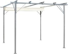 vidaXL Pergola med indragbart tak gräddvit stål 3x3 m