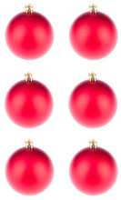 BasicsHome Julekugler Mat Rød 8 cm 6 stk