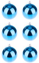 BasicsHome Joulupallo Kiiltävän Vaaleansininen 6 kpl