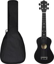 """Sopran-ukulele sett med veske 23"""" - sort"""