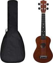 """Sopran-ukulele sett med veske 23"""" - mørk tre"""