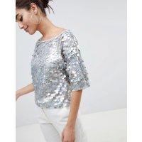 ASOS DESIGN - Blommönstrad t-shirt i oversize med paljetter - Gråmelerad