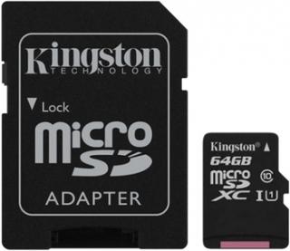 64GB class 10 Kingston (MicroSDHC med SDHC adapter) - Minneskort