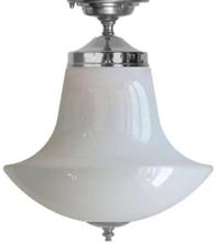 Badrumslampa - Taklampa 100 förnicklad klottrattskärm