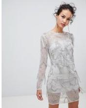 5f723a6a088b Frock & Frill long - Shift-klänning med långa ärmar och utsmyckningar - Grå