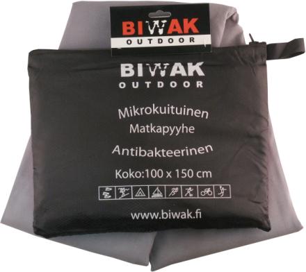 Biwak Matkapyyhe antibakteerinen, harmaa - 100 X 150 cm