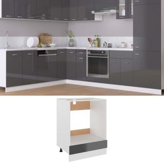 vidaXL Ovnskap høyglans grå 60x46x81,5 cm sponplate