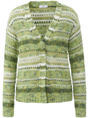 Knitted cardigan long sleeves Peter Hahn green