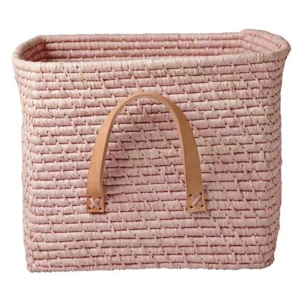 Förvaringskorg med läderhandtag, Soft Pink Rice