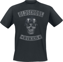 Oldschool Biker Skull T-shirt - svart
