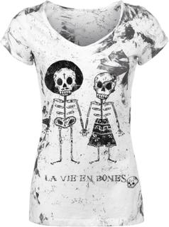Outer Vision - Skeleton Lovers - T-shirt - vit