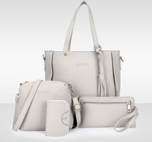 Fashion 4 Pieces Women Shoulder Bag Set Black Messenger Bag Wallet Handbag Woman Bag Leather Durable Retro Bag Sac Main Femme