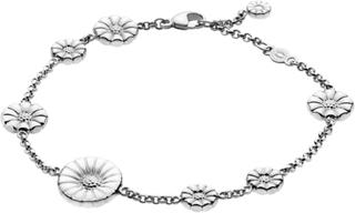 Daisy Mixat Armband Silver Med Vit Emalj