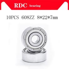 High quality 10pcs ABEC-5 608ZZ Deep groove ball bearing 608 ball Bearing 608 2Z metal Sealed 608 608Z 608ZZ 8*22*7