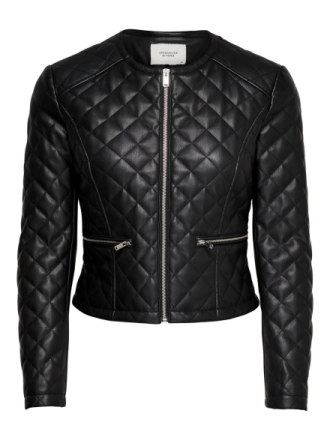 ONLY Quilted Faux Leather Jacket Women Black