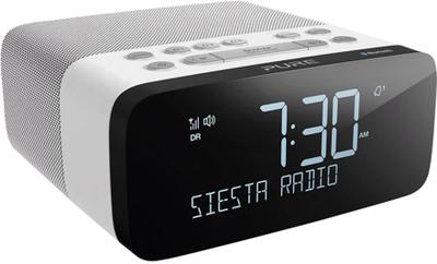 26f7267cf81 Pure Siesta Rise S FM Vækkeur med radio Bluetooth, FM, USB  Batteriopladningsfunktion Hvid