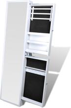 vidaXL Smyckesskåp med spegel med lådor vit