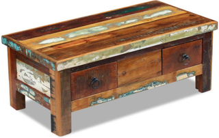 vidaXL Sofabord med skuffer i massivt genbrugstræ 90x45x35 cm