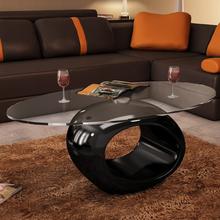 vidaXL Soffbord med oval bordsskiva i glas högglans svart