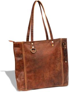 vidaXL Shoppingväska i äkta läder brun