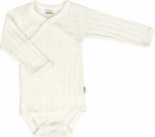 Hvid uld/silke slå-om body fra Joha