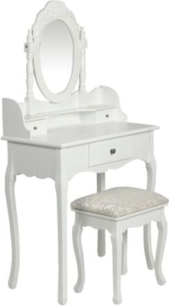 vidaXL Sminkbord med pall vit