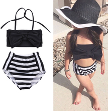 2-7Y Toddler Kids Baby Girls Bikini Set Striped Swimwear Swimsuit Bathing Suit Summer Baby Girl Beachwear Tankini