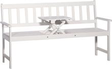 vidaXL 3-istuttava Puutarhapenkki pöydällä 158 cm akaasiapuu valkoinen
