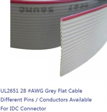 """5 m 1.27mm Grey Flat Ribbon Cable 8 Pin 9 10 12 14 16 20 24 26 30 40 50 60 64 Cores AWG 28 UL2651 300V for 0.10"""" IDC Connector"""