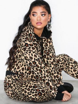 New Look Leopard Print Cropped Hoodie Hoods