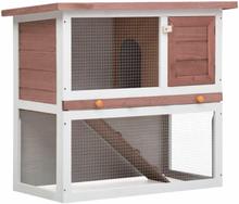 Vidaxl utebur för kanin med 1 dörr brun trä