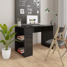 vidaXL Skrivbord svart högglans 110x60x73 cm spånskiva