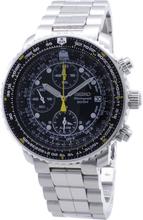 Seiko Men's Quartz Flight Chronograph Alarm Stainless Steel Uhr SNA411P1