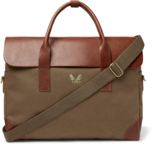 Cotton-canvas And Full-grain Leather Briefcase - Green