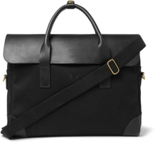 Cotton-canvas And Full-grain Leather Briefcase - Black