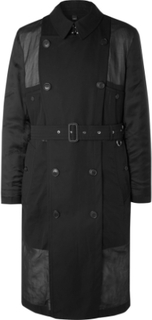 Cotton-voile And Twill Trench Coat - Black