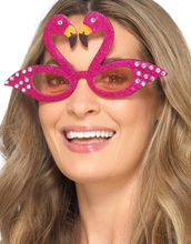 Rosa Flamingo Kostymebriller med Glitter