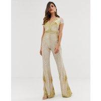 Goddiva - Vit och guldfärgad jumpsuit med djup urringning
