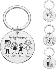 Personalized Family Gifts Keychain Custom Mom Dad Daughter Son Pet Key Chain Engraved Stainless Steel Mother Father Kids Keyring
