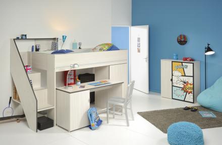 Gravity halvhøy seng m/skrivebord