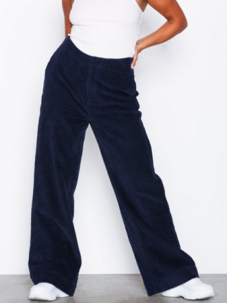 Bukser - Navy NLY Trend Wide Corduroy Pants