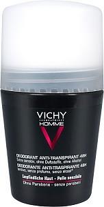 Vichy Homme Antiperspirant Deo 48H, 50 ml, hajusteeton