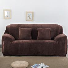 Einfarbige Plüschverdickung Elastic Sofabezug Universal Sectional Slipcover 1/2/3 Sitzer Stretch Couch Bezug