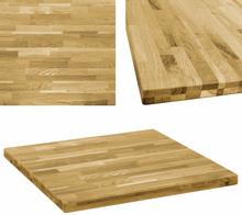 vidaXL bordplade massivt egetræ firkantet 44 mm 80 x 80 cm