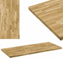 vidaXL bordplade i massivt egetræ rektangulært 44 mm 100 x 60 cm